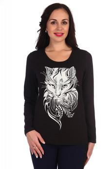 Черный лонгслив с котом Lovetex