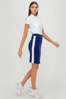 Синяя бархатная юбка в спортивном стиле Viserdi