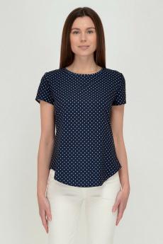 Темно-синяя блузка в горошек Viserdi
